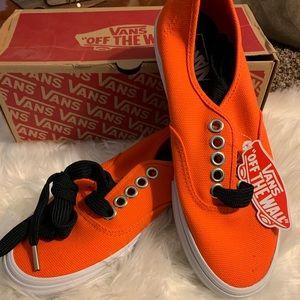 Authentic Vans neon orange/black laces